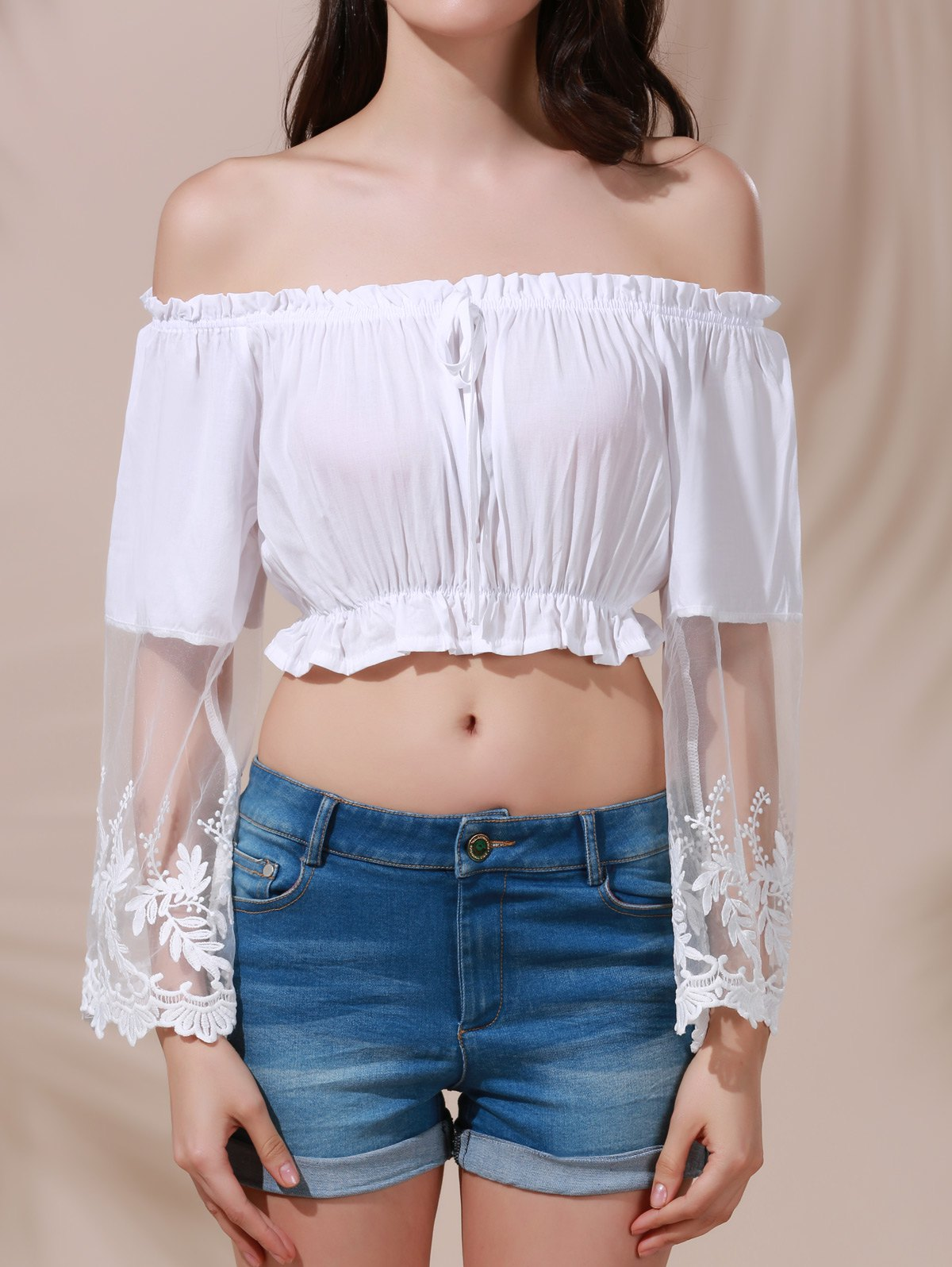 Flare Sleeve Off The Shoulder White Lace Spliced Crop Top