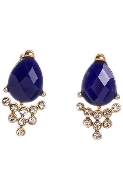 Faux Sapphire Rhinestone Earrings