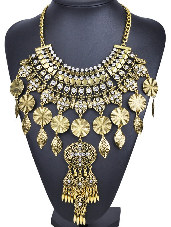 Rhinestone Long Ethnic Pendant Necklace