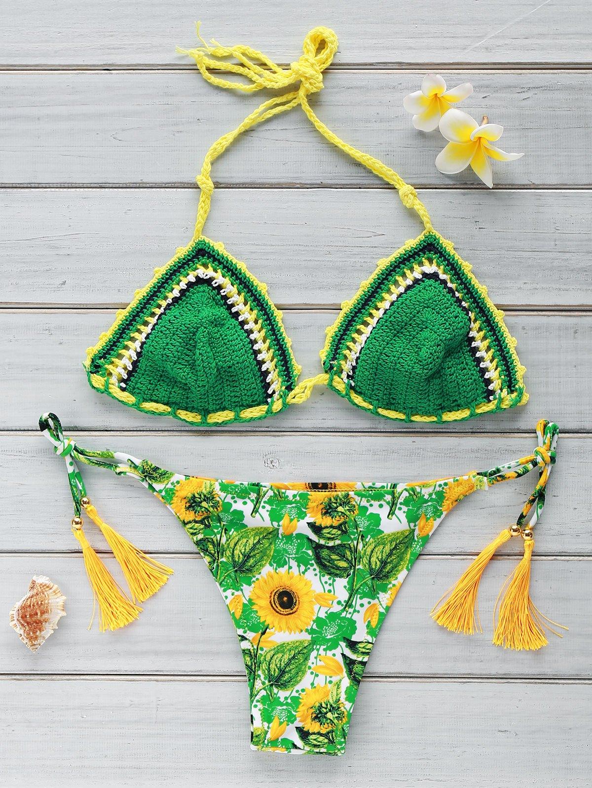Crocheted Sun Flower Print Bikini Set