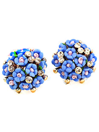 Blue Tiny Floral Earrings