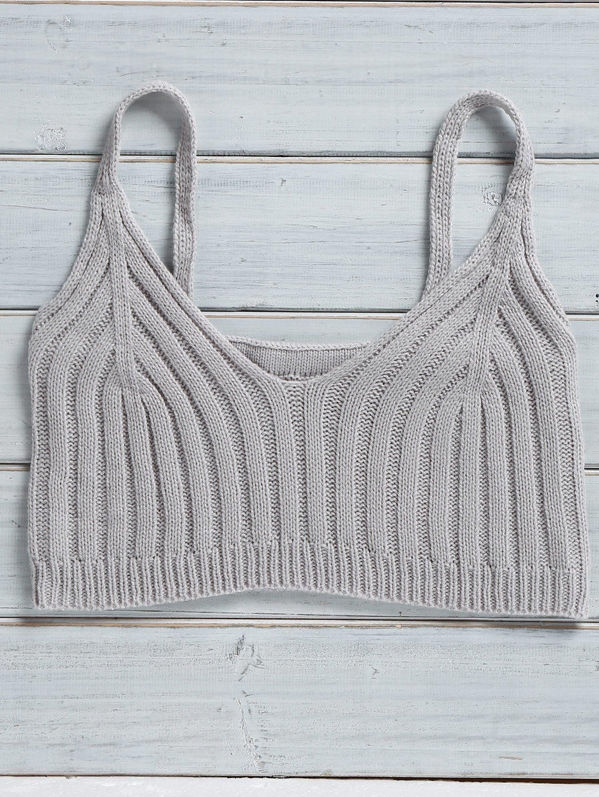 Cami Solid Color Knit Crop Top 176747406