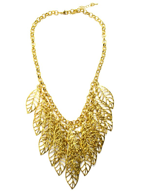 Hollow Out Leaf Golden Necklace
