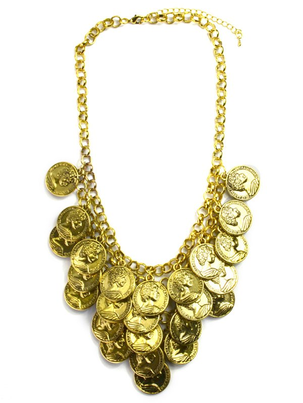Round Portrait Coin Golden Necklace