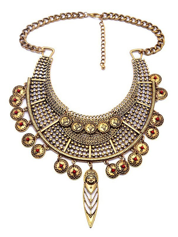Portrait Round Ethnic Pendant Necklace