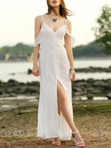 Solid Color Cami Slit Maxi Dress - White