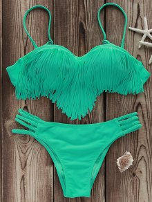 Tassels Spliced Spaghetti Straps Solid Color Bikini Set