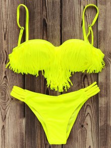 Tassels Spliced Spaghetti Straps Solid Color Bikini Set - Neon Green M