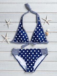 Polka Dot Stripe Spliced Halter Bikini Set