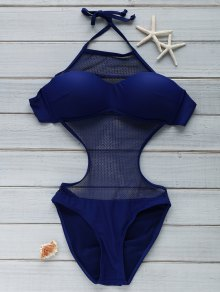 Voile Spliced See-Through High Neck One Piece Swimwear - Blue