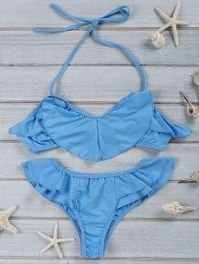 Halter Ruffles Bikini Set - Blue