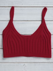 Buy Solid Color Cami Knit Crop Top - RED ONE SIZE(FIT SIZE XS TO M)