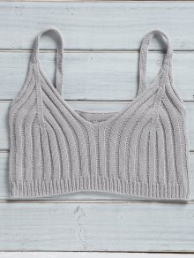 Buy Solid Color Cami Knit Crop Top - GRAY ONE SIZE(FIT SIZE XS TO M)