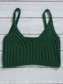 Buy Solid Color Cami Knit Crop Top - GREEN ONE SIZE(FIT SIZE XS TO M)