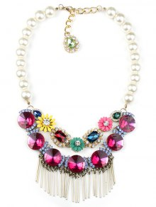 Colored Rhinestone Big Faux Pearl Necklace - Rose