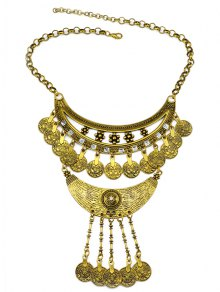 Round Pendant Ethnic Necklace - Golden