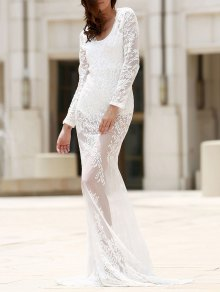 Maxi Sheer Lace Prom Dress - White M