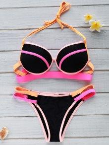 Color Block Underwire Halter Bikini Set