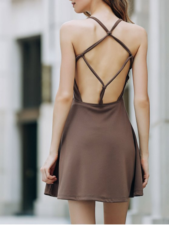 women's Solid Color Backless Scoop Neck Dress - LIGHT BROWN 2XL