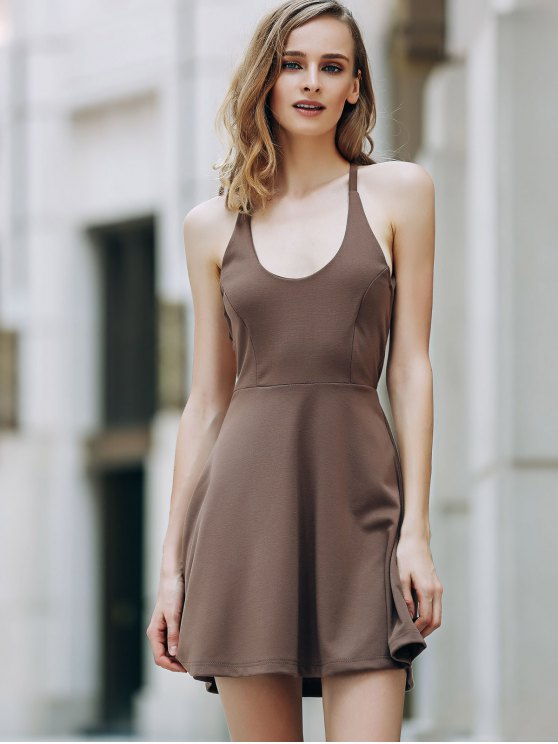 Solid Color Backless Scoop Neck Dress - LIGHT BROWN XL Mobile