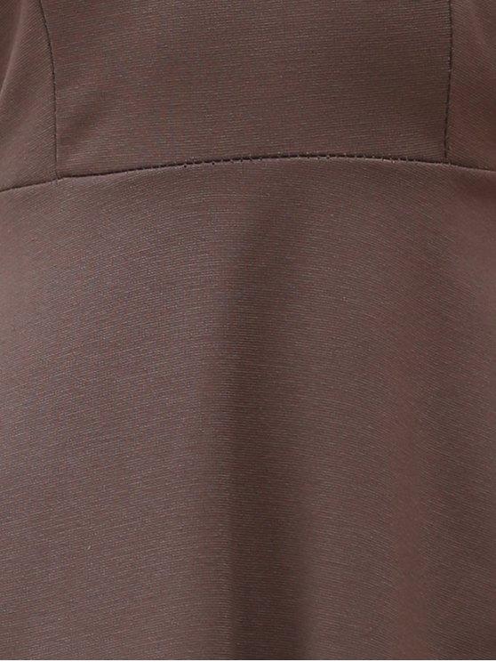 Solid Color Backless Scoop Neck Dress - LIGHT BROWN L Mobile