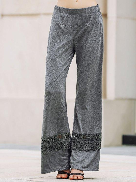 best Solid Color Lace Spliced High Waist Wide Leg Pants - GRAY M