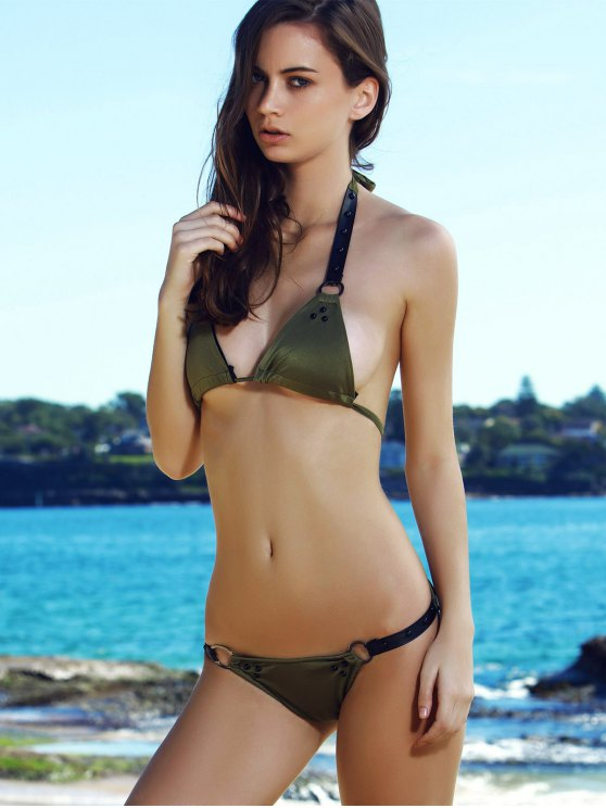 Alluring Halter Alloy Ring Design Bikini For Women - OLIVE GREEN S Mobile