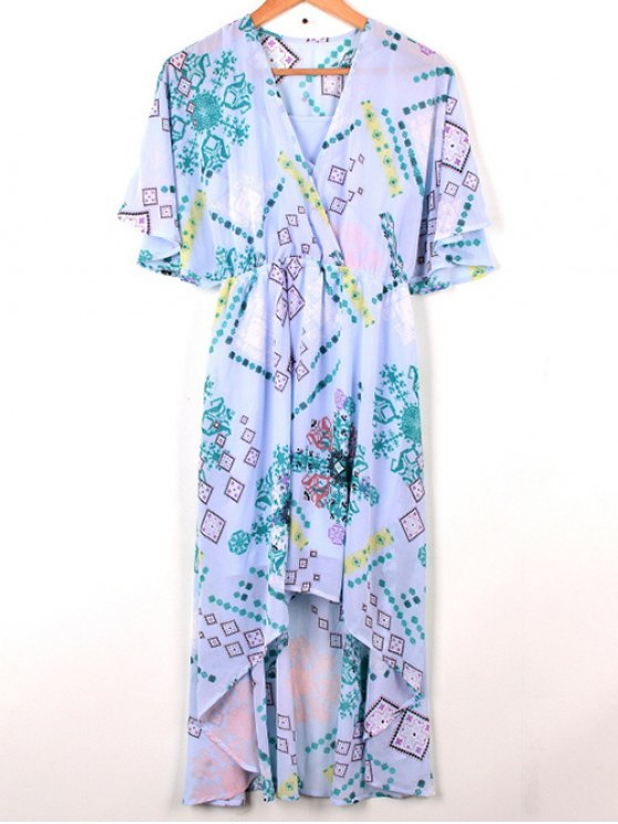 Cross-Over robe en mousseline de soie - Bleu clair S
