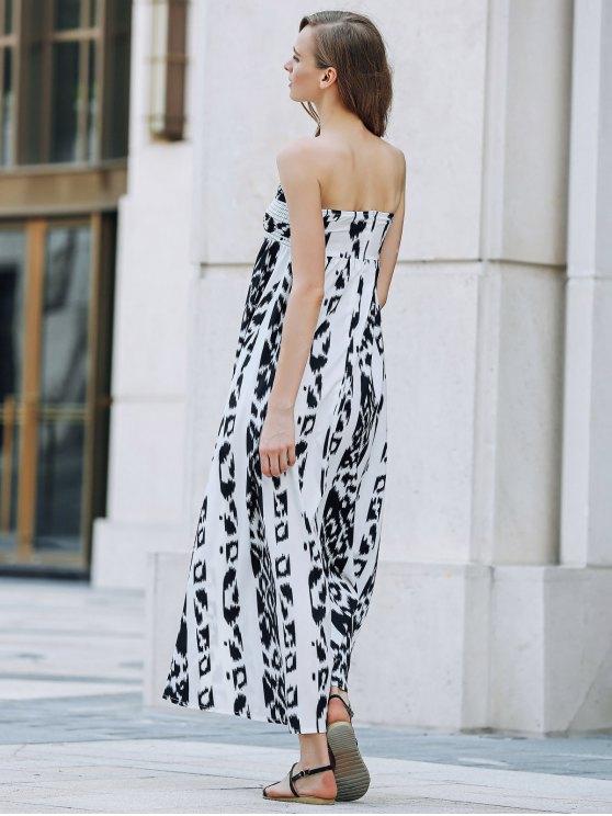 Bohemian Bandeau Print Maxi Dress - WHITE AND BLACK XL Mobile