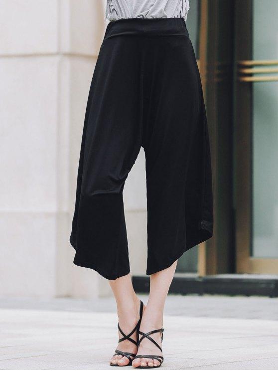 women's Black Loose Fitting Harem Pants - BLACK S