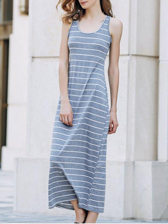 chic Stripe Racerback U Neck Sundress - GRAY M