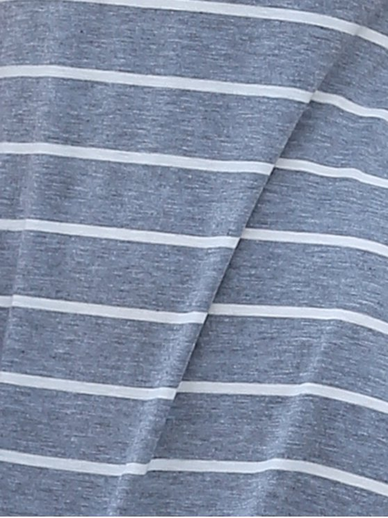 Stripe Racerback U Neck Sundress - GRAY M Mobile