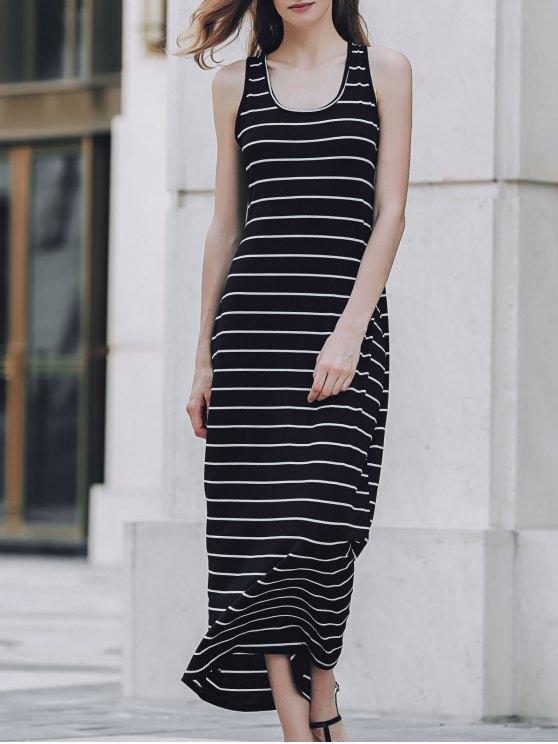 Stripe Racerback U Neck Sundress - BLACK S Mobile