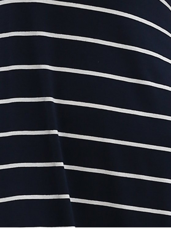 Stripe Racerback U Neck Sundress - SAPPHIRE BLUE 2XL Mobile