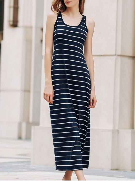best Stripe Racerback U Neck Sundress - SAPPHIRE BLUE S