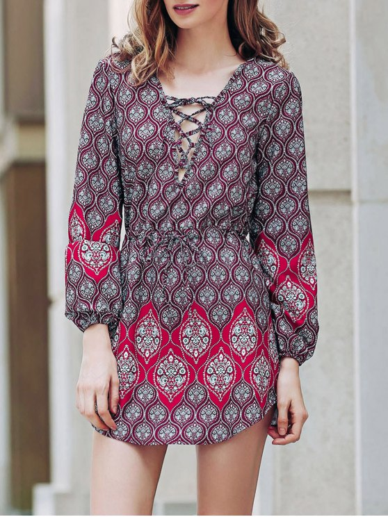 women's Loose Digital Print Round Neck Long Sleeve Dress - RED L