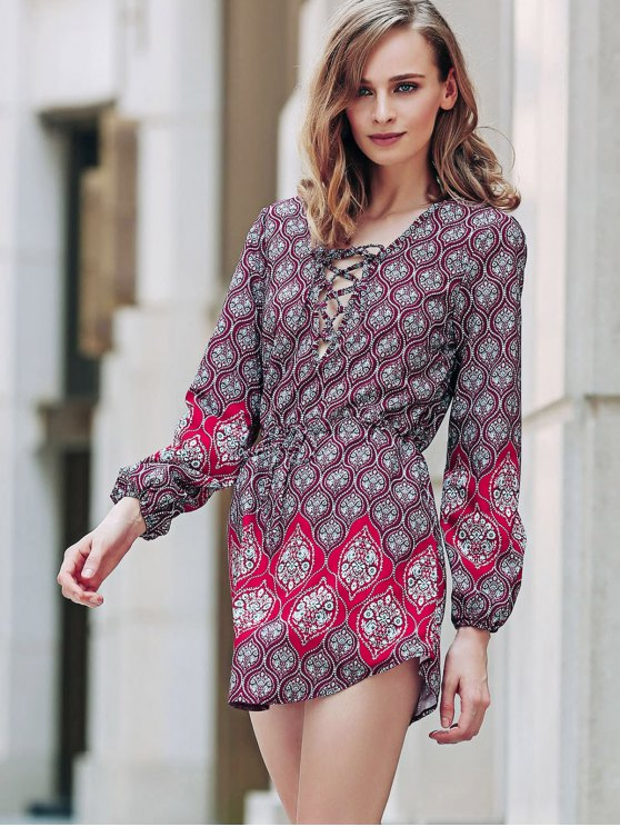 Loose Digital Print Round Neck Long Sleeve Dress - RED S Mobile
