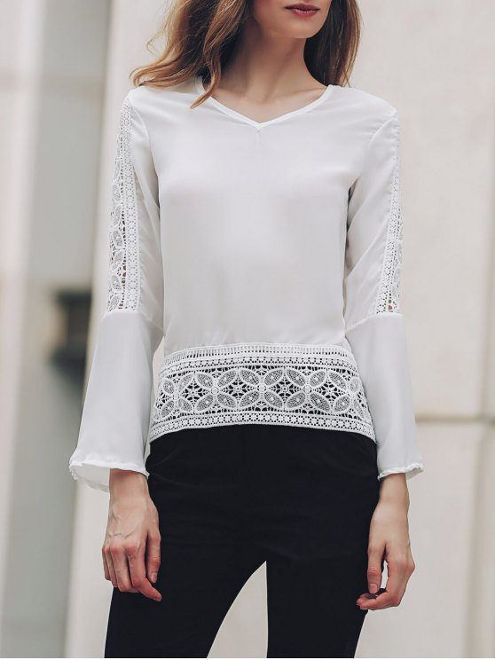fancy Bell Sleeve Lace Patchwork Chiffon Top - WHITE M