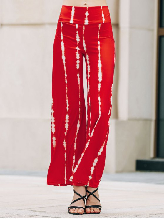 Pantalon rayé Wide Leg Palazzo - Pastèque Rouge L