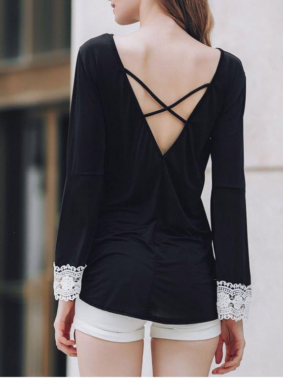 Baja de la Espalda dobladillo irregular de la camiseta - Negro S