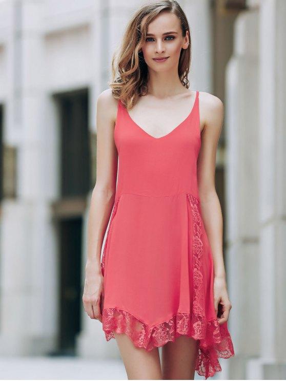 Lace Spliced Plunging Neck Irregular Hem Dress - RED M Mobile