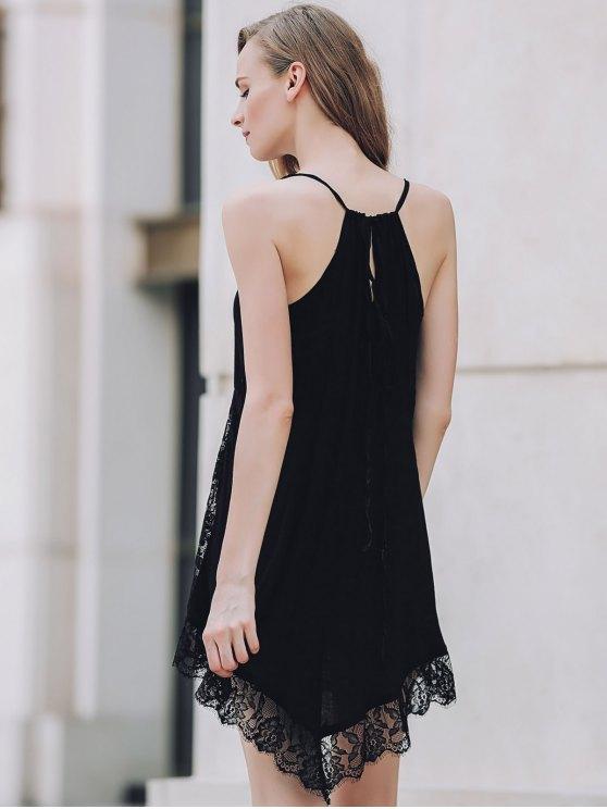 Lace Spliced Plunging Neck Irregular Hem Dress - BLACK L Mobile
