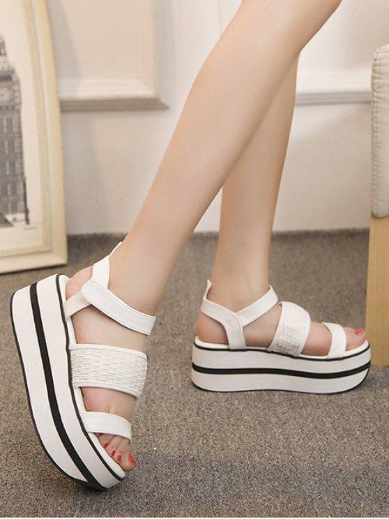 Platform Solid Colour Sandals - WHITE 39 Mobile
