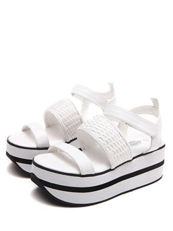 Platform Solid Colour Sandals - WHITE 38 Mobile