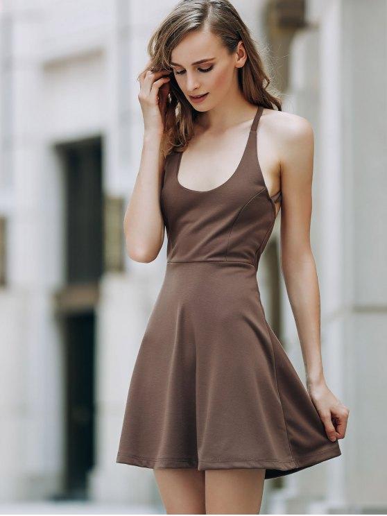 Solid Color Backless Scoop Neck Dress - LIGHT BROWN 2XL Mobile