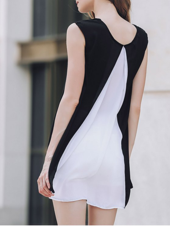 Cap Sleeve Hit Color Chiffon Dress - WHITE AND BLACK L Mobile