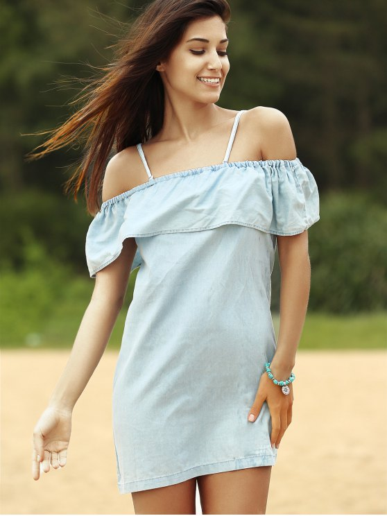 Off The Shoulder Denim Dress - BLUE L Mobile