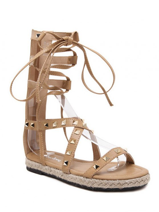 sale Flat Heel High Top and Rivet Sandals - APRICOT 37