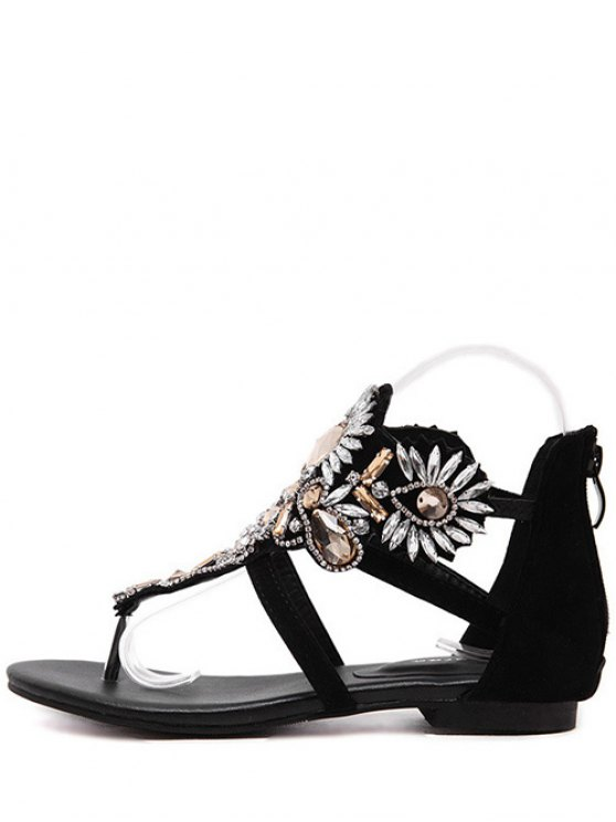 Artificial Jewel Black Flat Heel Sandals - BLACK 38 Mobile