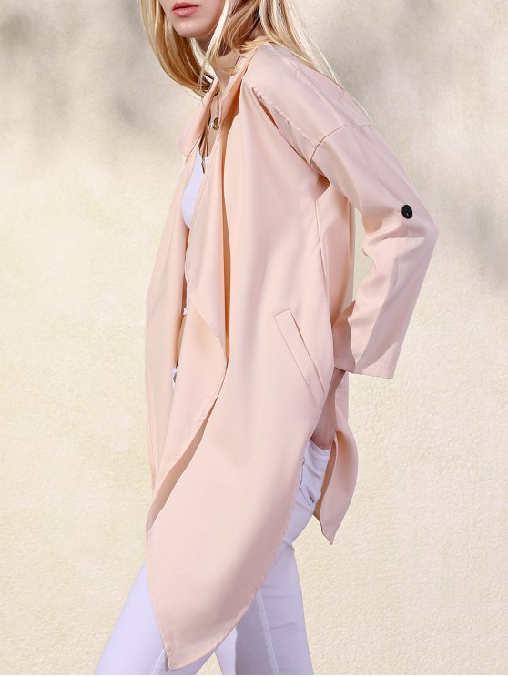 womens Solid Color Lapel Collar Pockets Trench Coat - APRICOT S